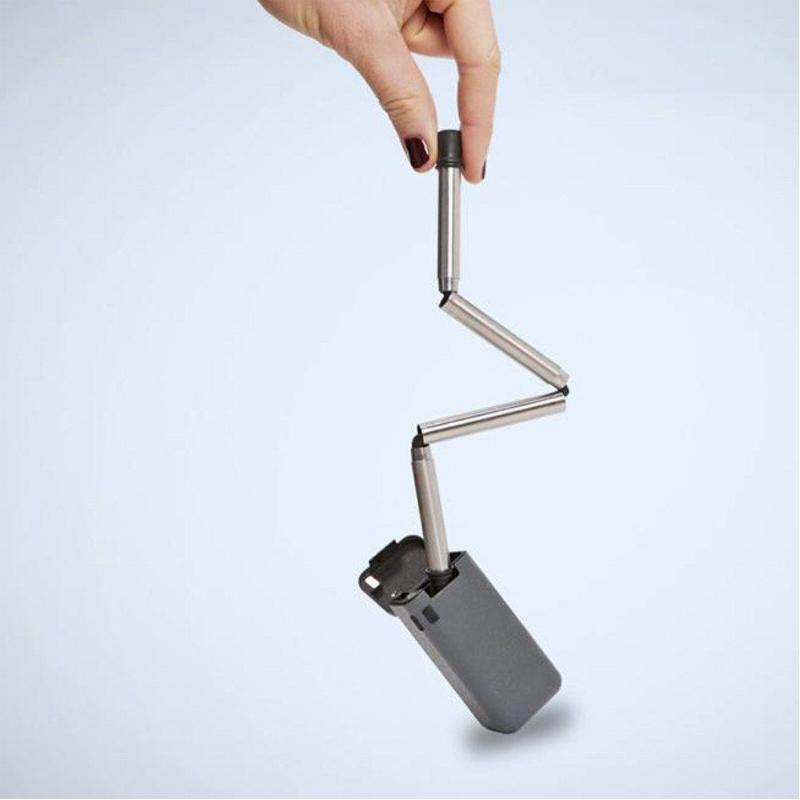 Réutilisable pliable Pailles en acier inoxydable Paille Pliable Boîte