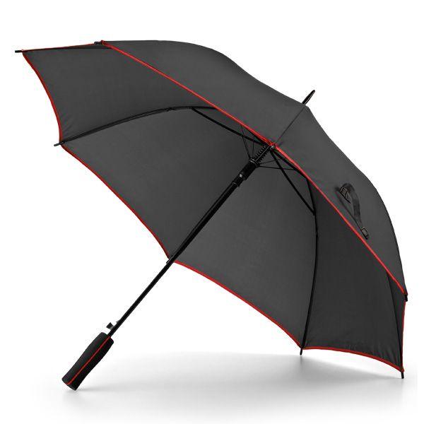 Goedkope paraplu met gekleurde accenten.