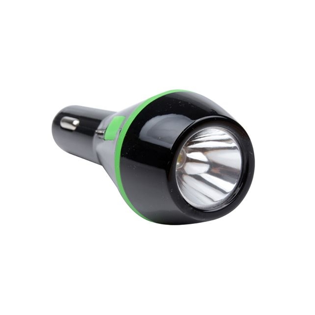 2 in 1 autolader met led-zaklamp